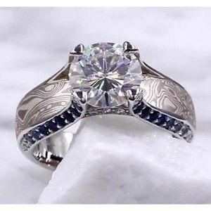 Gane Diamond Engagement Ring 3.50 Carats Mokume